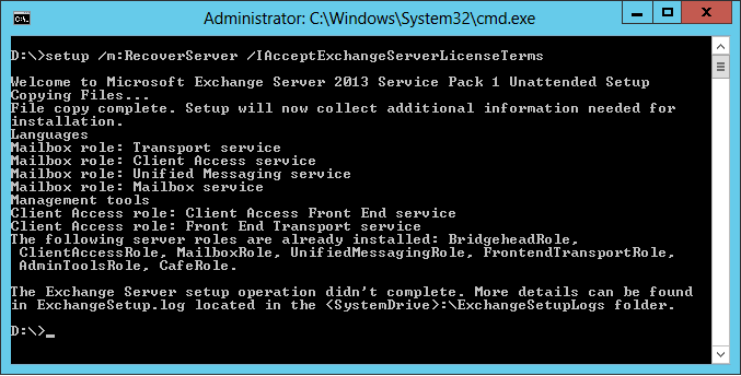 Exchange 2013 - Recover Server Mode