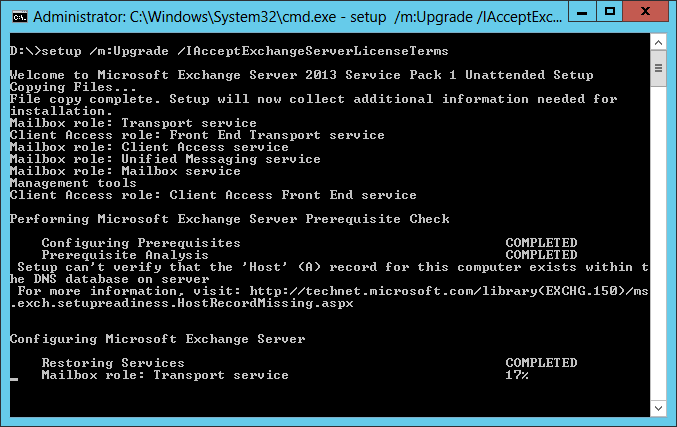 Exchange 2013 - In Place Upgrade