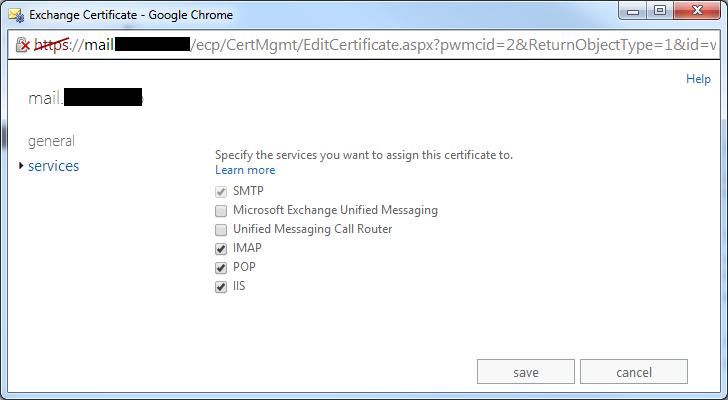 Exchange 2013 - SSL Certificate Assignment