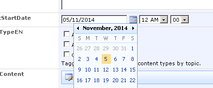 View in Older Browser (IE 8) - Calendar Expanded