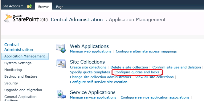 SharePoint 2010 Central Administration - Quotes and Locks
