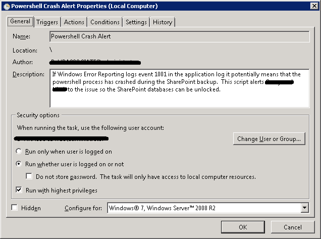 Scheduled Task - PowerShell Crash Alert Properties