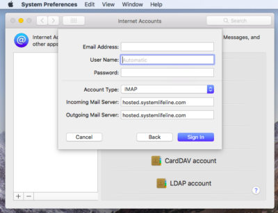 Mail Account Settings